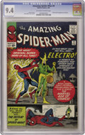 """Silver Age (1956-1969):Superhero, The Amazing Spider-Man #9 (Marvel, 1964) CGC NM 9.4 Off-white to white pages. If your Spidey run is still in the """"VF zone,"""" ..."""