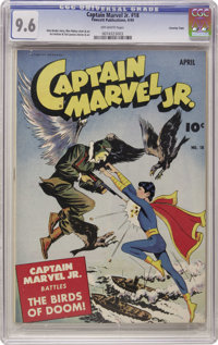 Captain Marvel Jr. #18 Crowley Copy pedigree (Fawcett, 1944) CGC NM+ 9.6 Off-white pages. Mac Raboy cover. Art Helfant a...