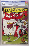 Golden Age (1938-1955):Classics Illustrated, Classic Comics #11 Don Quixote Original Edition (Gilberton, 1943)CGC VF 8.0 Off-white pages. Here's an extremely fresh-look...