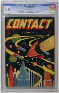 "Golden Age (1938-1955):Science Fiction, Contact Comics #12 Davis Crippen (""D"" Copy) pedigree (AviationPress, 1946) CGC FN/VF 7.0 Off-white pages. L. B. Cole was th..."