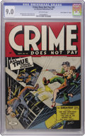 """Golden Age (1938-1955):Crime, Crime Does Not Pay #35 Davis Crippen (""""D"""" Copy) pedigree (Lev Gleason, 1944) CGC VF/NM 9.0 Off-white pages. Look closely at ..."""