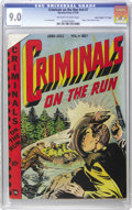 """Golden Age (1938-1955):Crime, Criminals on the Run V4#7 Davis Crippen (""""D"""" Copy) pedigree (Curtis, 1949) CGC VF/NM 9.0 Off-white to white pages. As famous..."""