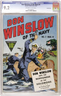 Golden Age (1938-1955):War, Don Winslow of the Navy #2 Crowley Copy pedigree (Fawcett, 1943)CGC NM- 9.2 Off-white to white pages. This 68-pager has Don...