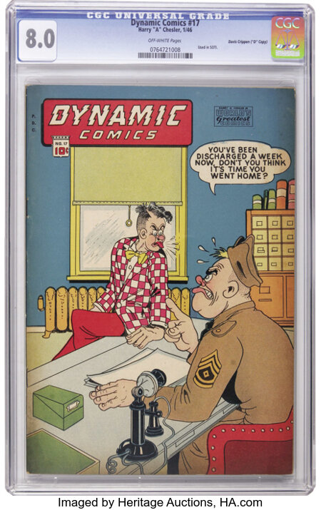 """Dynamic Comics #17 Davis Crippen (""""D"""" Copy) pedigree (Chesler, 1946) CGC VF 8.0 Off-white pages. One of the most famous pict..."""