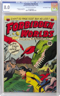 """Golden Age (1938-1955):Science Fiction, Forbidden Worlds #3 Davis Crippen (""""D"""" Copy) pedigree (ACG, 1951)CGC VF 8.0 Off-white to white pages. Frank Frazetta and Wa..."""