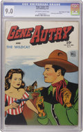 """Golden Age (1938-1955):Western, Four Color #75 Gene Autry and the Wildcat - Davis Crippen (""""D"""" Copy) pedigree (Dell, 1945) CGC VF/NM 9.0 Off-white to white pa..."""