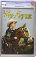 "Golden Age (1938-1955):Western, Four Color #144 Roy Rogers - Davis Crippen (""D"" Copy) pedigree(Dell, 1947) CGC NM- 9.2 Off-white pages. We hadn't seen this..."