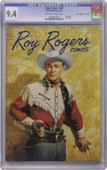 "Golden Age (1938-1955):Western, Four Color #160 Roy Rogers - Davis Crippen (""D"" Copy) pedigree(Dell, 1947) CGC NM 9.4 Off-white to white pages. The Crippen..."