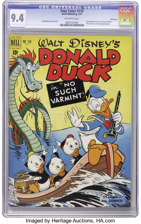 """Four Color #318 Donald Duck in """"No Such Varmint"""" - File Copy (Dell, 1951) CGC NM 9.4 Off-white pages. This beautiful copy wi..."""