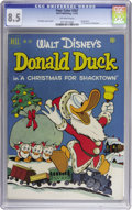 """Golden Age (1938-1955):Cartoon Character, Four Color #367 Donald Duck in """"A Christmas for Shacktown"""" (Dell, 1952) CGC VF+ 8.5 Off-white pages. Carl Barks wrote and dr..."""
