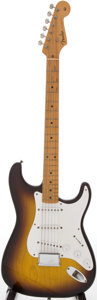 Musical Instruments:Electric Guitars, 1955 Fender Stratocaster Sunburst Solid Body Electric Guitar,Serial # 6525...
