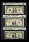 "Error Notes:Inverted Third Printings, Fr. 1908-K $1 1974 Federal Reserve Notes. Inverted Third PrintingPlus Two ""Bookend"" Notes. PMG Gem Uncirculated 65 EPQ.. ... (Total:3 notes)"