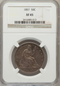 Seated Half Dollars: , 1857 50C XF45 NGC. NGC Census: (13/144). PCGS Population (21/128).Mintage: 1,988,000. Numismedia Wsl. Price for problem fr...