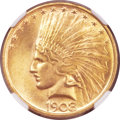 Indian Eagles, 1908 $10 No Motto MS65 NGC. CAC....