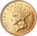 Three Dollar Gold Pieces, 1877 $3 AU58 Prooflike NGC. CAC....