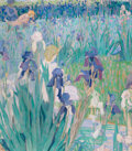 Fine Art - Painting, American, MILDRED BUNTING MILLER (American, 1892-1964). In My IrisGarden, 1925. Oil on canvas. 31-1/2 x 27-1/2 inches (80.0 x69....