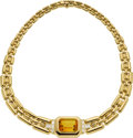 Estate Jewelry:Necklaces, Citrine, Diamond, Gold Necklace. ...