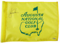 Golf Collectibles:Miscellaneous, 2000's Tiger Woods Signed Augusta National Flown Pin Flag....