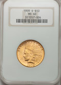 Indian Eagles, 1909-S $10 MS60 NGC. Breen-7108....
