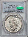 Peace Dollars, 1922-D $1 MS66 PCGS. CAC....