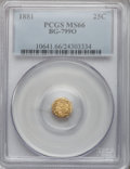 California Fractional Gold, 1881 25C Indian Octagonal 25 Cents, BG-799O, Low R.4, MS66 PCGS....