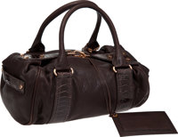 Balenciaga Chocolate Leather and Ostrich Leg Whistle Bowling Bag