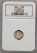 Seated Half Dimes, 1863 H10C MS66 NGC....