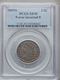 1809/6 1/2C 9 Over Inverted 9 XF45 PCGS. PCGS Population (39/93). NGC Census: (17/116). Mintage: 1,154,572. Numismedia W...