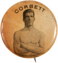 Boxing Cards:General, Circa 1896 PE7-2 Whitehead & Hoag Jim Corbett Pin Back. ...