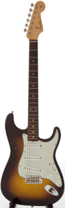 Musical Instruments:Electric Guitars, 1960 Fender Stratocaster Sunburst Solid Body Electric Guitar,Serial # 44561....