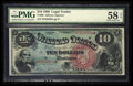 Large Size:Legal Tender Notes, Fr. 96 $10 1869 Legal Tender PMG Choice About Unc 58 EPQ.. ...