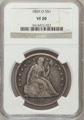 Seated Dollars: , 1859-O $1 VF20 NGC. NGC Census: (7/475). PCGS Population (4/732).Mintage: 360,000. Numismedia Wsl. Price for problem free ...