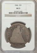 Seated Dollars: , 1846 $1 AG3 NGC. NGC Census: (0/384). PCGS Population (0/519).Mintage: 110,600. Numismedia Wsl. Price for problem free NGC...