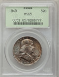 Franklin Half Dollars, 1949 50C MS65 PCGS. PCGS Population (178/14). NGC Census: (249/22).Mintage: 5,614,000. Numismedia Wsl. Price for problem f...