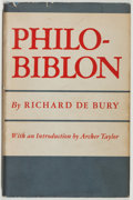 Books:Books about Books, Richard de Bury. The Philobiblon. Berkeley: University of California Press, 1948. First edition, first printing....