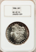 Morgan Dollars: , 1886 $1 MS63 Prooflike NGC. NGC Census: (314/418). PCGS Population(262/374). Numismedia Wsl. Price for problem free NGC/P...