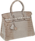 Luxury Accessories:Bags, Hermes Exceedingly Rare 30cm Gray Himalayan Crocodile Birkin Bagwith Palladium Hardware. ... (Total: 2 Items)