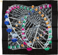 "Luxury Accessories:Accessories, Hermes Black, Blue, Pink, & Orange ""Grande Roue"" byRybaltchenko Silk Scarf. ..."