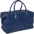 Luxury Accessories:Bags, Bottega Veneta Bright Blue Rivulet Leather Handmade Bowling Bag....