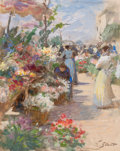 Works on Paper, VICTOR GABRIEL GILBERT (French, 1847-1933). The Flower Market. Gouache and watercolor on board. 12 x 9-1/2 inches (30.5 ...
