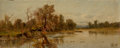 Paintings, HUDSON RIVER SCHOOL (American, 19th Century). River Landscape, 1880. Oil on canvas. 6-3/4 x 16-1/2 inches (17.1 x 41.9 c...