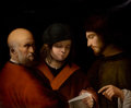 Fine Art - Painting, European:Antique  (Pre 1900), PIERRE CARLONI (French, Active Italy, 17th Century). Three MenReading a Musical Score, 16[4]0 (third digit possibly an ...