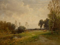 Fine Art - Painting, European, LUDWIG WILLROIDER (Austrian, 1845-1910). Landscape with Cattle. Oil on canvas. 30 x 39-1/2 inches (76.2 x 100.3 cm). Sig...