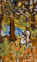 Fine Art - Painting, American:Modern  (1900 1949)  , SACHA MOLDOVAN (American, 1901-1982). Two Figures inLandscape. Oil on canvas. 22 x 13-1/2 inches (55.9 x 34.3 cm).Sign...