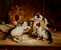 CARL REICHERT (Austrian, 1836-1918) Playing Cards Oil on cradled wood panel 10 x 12-1/2 inches (2