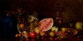 Fine Art - Painting, European, NIKOLAOS WOKOS (Greek, 1859-1902). Still Life with Fruit.Oil on canvas. 47-1/2 x 24 inches (120.7 x 61.0 cm). Signed up...
