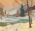 Fine Art - Painting, American, CARL R. KRAFFT (American, 1884-1938). Along the River, 1937.Oil on canvas. 23-1/2 x 26-3/4 inches (59.7 x 67.9 cm). Dat...