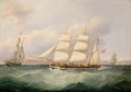 Fine Art - Painting, European, JOSEPH HEARD (British, 1799-1859). Ships in Sail. Oil oncanvas. 28 x 40 inches (71.1 x 101.6 cm). . PROPERTY FROM A TE...