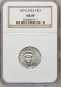 Modern Bullion Coins, 2004 P$25 Quarter-Ounce Platinum Eagle MS69 NGC. NGC Census:(4511/2449). PCGS Population (8445/210). Numismedia Wsl. Pric...