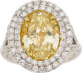Estate Jewelry:Rings, Fancy Intense Yellow Diamond, Diamond, Gold, Platinum Ring. ...